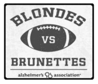 Alzheimer's Association Logo saying Blondes vs Brunettes