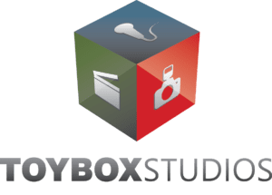 Larger logo for Toy Box Studios with the grey and white checkered background.